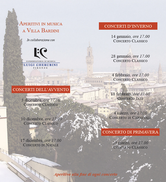 Aperitivi in musica a Villa Bardini. Inverno 20132