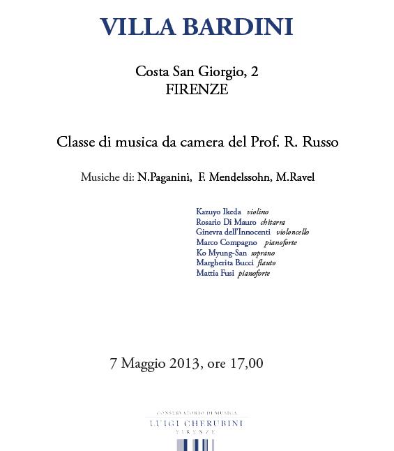 (classe del prof. R. Russo) 7 Maggio 2013, ore 17,00.VILLA BARDINI